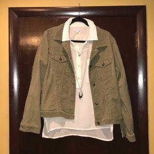 Eddie Bauer Khaki green corduroy Jacket XL EUC
